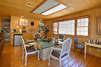 Stock photo of dining area in rustic ranch house.
