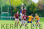 Kieran Lucey Duagh and Gergal Hallissey Beaufort Captain compete for the kickout  during their Junior Championship quarter final in Beaufort on Saturday