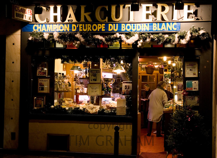 Charcuterie meat shop window in Rue Dauphine, Left Bank, Paris, France