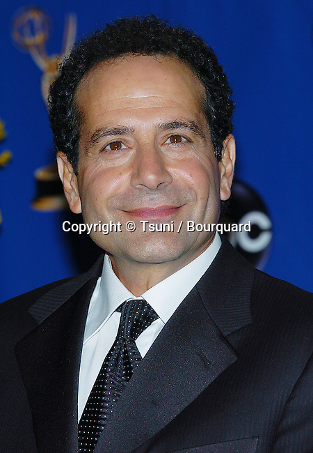 Tony Shalhoub backstage at the 56th Emmy Awards at the Shrine Auditorium in Los Angeles. September 19, 2004.