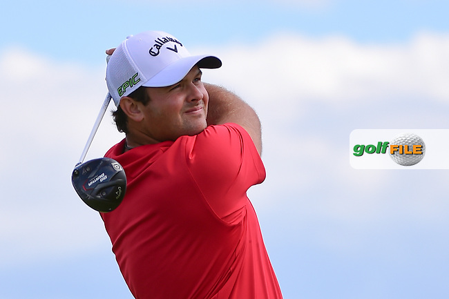 Patrick Reed (USA) watches his tee shot on 7 during Sunday's round 4 of the 117th U.S. Open, at Erin Hills, Erin, Wisconsin. 6/18/2017.<br /> Picture: Golffile   Ken Murray<br /> <br /> <br /> All photo usage must carry mandatory copyright credit (&copy; Golffile   Ken Murray)