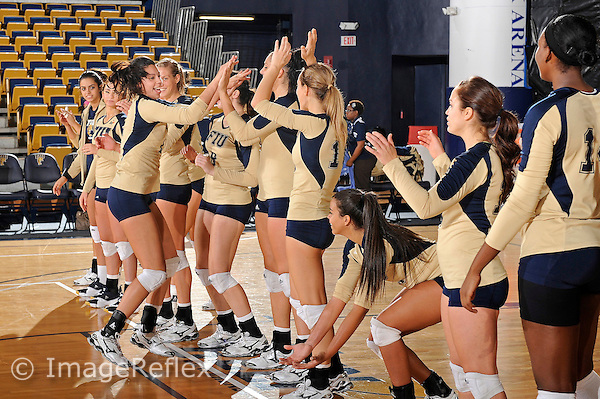 11 September 2011:  FIU middle blocker Sabrina Gonzalez (12) high-fives with teammates during player introductions.  The FIU Golden Panthers defeated the Florida A&M University Rattlers, 3-0 (25-10, 25-23, 26-24), at U.S Century Bank Arena in Miami, Florida.