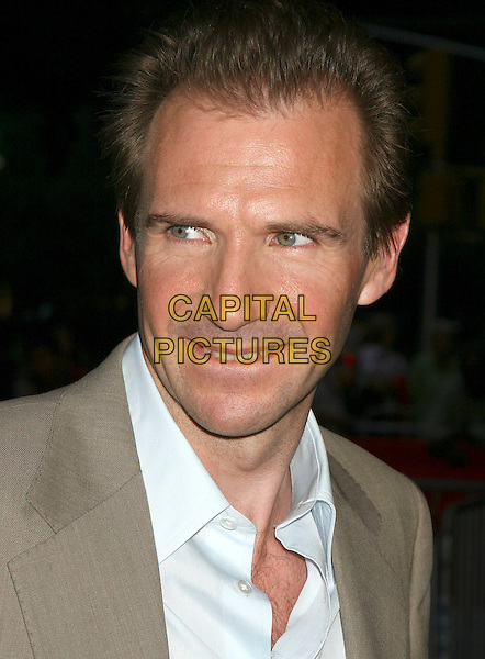 "RALPH FIENNES.""The Constant Gardener"" New York Premiere,.Loews Lincoln Square, .New York City, 8th August 2005.portrait  headshot taupe grey gray suit jacket white shirt.www.capitalpictures.com.sales@capitalpictures.com.©Capital Pictures"