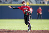 Rutgers Scarlet Knights second baseman David Soto (33) warms up before the NCAA baseball game against the Michigan Wolverines on April 26, 2019 at Ray Fisher Stadium in Ann Arbor, Michigan. Michigan defeated Rutgers 8-3. (Andrew Woolley/Four Seam Images)