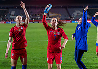 CARSON, CA - FEBRUARY 7: Becky Sauerbrunn #4, Kelley O'Hara #5 and Rose Lavelle #16 of the United States dance during a game between Mexico and USWNT at Dignity Health Sports Park on February 7, 2020 in Carson, California.