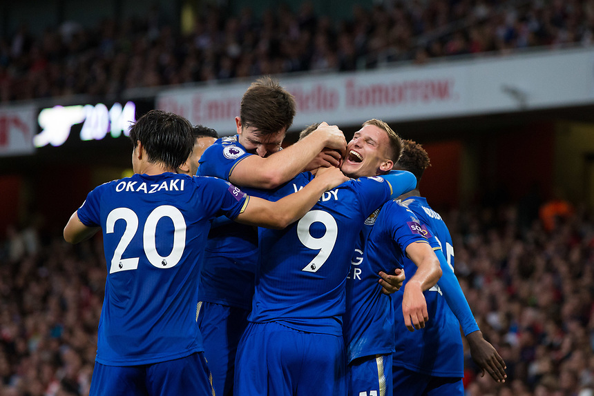 Leicester City's Jamie Vardy celebrates with team mates after scoring his sides second goal <br /> <br /> Photographer Craig Mercer/CameraSport<br /> <br /> The Premier League - Arsenal v Leicester City - Friday 11th August 2017 - Emirates Stadium - London<br /> <br /> World Copyright &copy; 2017 CameraSport. All rights reserved. 43 Linden Ave. Countesthorpe. Leicester. England. LE8 5PG - Tel: +44 (0) 116 277 4147 - admin@camerasport.com - www.camerasport.com