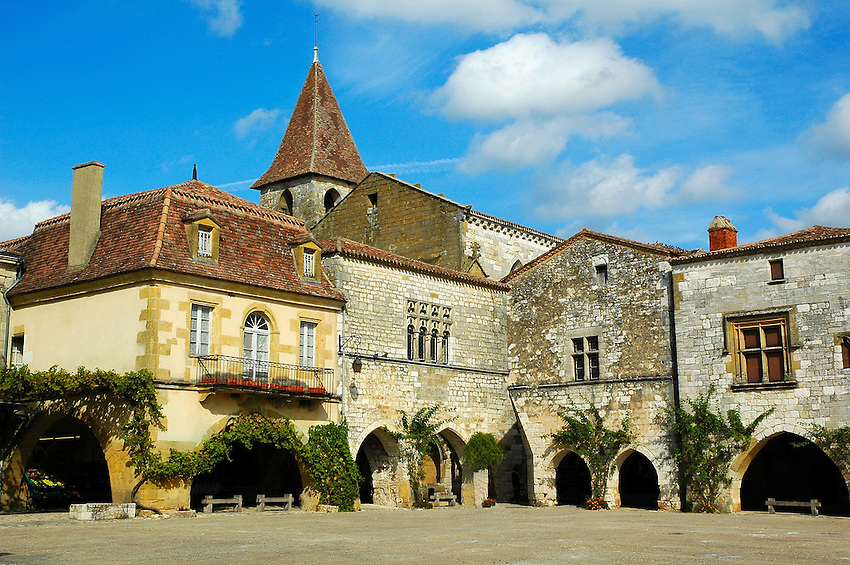 Monpazier, a bastide located in the Périgord region of France.
