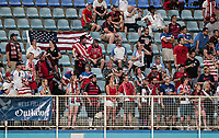 Couva, Trinidad & Tobago - Tuesday Oct. 10, 2017: American Outlaws supporters during a 2018 FIFA World Cup Qualifier between the men's national teams of the United States (USA) and Trinidad & Tobago (TRI) at Ato Boldon Stadium.