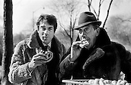 Manhattan, New York City, USA. February 16th 1968. French comedian Fernandel and his son Franck eating pretzels in New York's Central Park the day after his performance at Carnegie Hall.