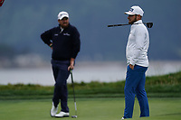 Shane Lowry (IRL) and Tyrrell Hatton (ENG) on the 17th during the 2nd round of the US Open Championship, Pebel Beach Golf Links, Monterrey, Calafornia, USA. 14/06/2019.<br /> Picture Fran Caffrey / Golffile.ie<br /> <br /> All photo usage must carry mandatory copyright credit (© Golffile | Fran Caffrey)