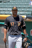 Chris Dominguez (17) of the Fresno Grizzlies prior to the game against the Salt Lake Bees at Smith's Ballpark on May 26, 2014 in Salt Lake City, Utah.  (Stephen Smith/Four Seam Images)