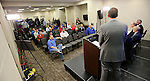 SIOUX FALLS, SD - MARCH 5: Members of the media listen during the Summit League press conference Thursday afternoon at the Denny Sanford Premier Center in Sioux Falls. (Photo by Dave Eggen/Inertia)