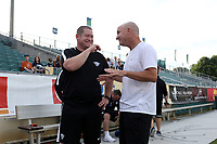Cary, North Carolina  - Saturday June 17, 2017: Matt Beard and Paul Riley prior to a regular season National Women's Soccer League (NWSL) match between the North Carolina Courage and the Boston Breakers at Sahlen's Stadium at WakeMed Soccer Park. The Courage won the game 3-1.