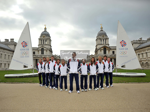 (l to r) Iain Percy OBE, Annie Lush, Nick Dempsey, Lucy Macgregor, Hannah Mills, Ben Ainslie CBE, Kate Macgregor, Bryony Shaw, Saskia Clark and Andrew Simpson MBE.TeamGB announces the first athletes to be selected for the London 2012 Olympics. Old Naval College. Greenwich. London. 20/09/2011. MANDATORY Credit Sportinpictures/Garry Bowden - NO UNAUTHORISED USE - 07837 394578