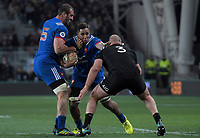 France's Mathieu Babillot runs at NZ's Owen Franks with Yoann Maestri in support during the Steinlager Series international rugby match between the New Zealand All Blacks and France at Forsyth Barr Stadium in Wellington, New Zealand on Saturday, 23 June 2018. Photo: Dave Lintott / lintottphoto.co.nz