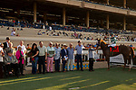 """DEL MAR, CA  AUGUST 24: #7 Catalina Cruiser, ridden by Flavien Prat,  in the winners circle after winning the Pat O'Brien Stakes (Grade ll) """"Win and You're In Breeders' Cup Dirt Mile Division"""" on August 23, 2019 at Del Mar Thoroughbred Club in Del Mar, CA.  ( Photo by Casey Phillips/Eclipse Sportswire/CSM)"""