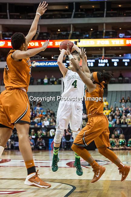guard Kristy Wallace (4) shoots during Big 12 women's basketball championship final, Sunday, March 08, 2015 in Dallas, Tex. (Dan Wozniak/TFV Media via AP Images)