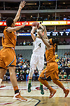 guard Kristy Wallace (4) shoots during Big 12 women's basketball championship final, Sunday, March 08, 2015 in Dallas, Tex. (Dan Wozniak/TFV Media via AP Images)