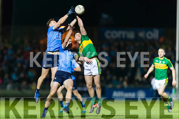 Jack Barry Kerry in action against Michael Darragh Macauley and Brian Fenton Dublin in the National League in Austin Stack park on Saturday night.