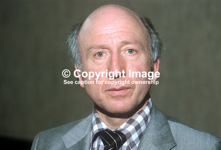 Colin Lowry, trade union official, Belfast, N. Ireland, EEPTU, Electrical, Electronic, Telecoms &amp; Plumbing Union, April, 1982, 198204000031<br /> <br /> Copyright Image from Victor Patterson, 54 Dorchester Park, Belfast, UK, BT9 6RJ<br /> <br /> Tel: +44 28 9066 1296<br /> Mob: +44 7802 353836<br /> Voicemail +44 20 8816 7153<br /> Skype: victorpattersonbelfast<br /> Email: victorpatterson@me.com<br /> Email: victor@victorpatterson.com<br /> <br /> IMPORTANT: If you wish to use this image or any other of my images please go to www.victorpatterson.com and click on the Terms &amp; Conditions. Then contact me by email or phone with the reference number(s) of the image(s) concerned.