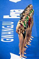Republic of Korea KOR<br /> BAEK Seoyeon KIM Jihye<br /> KIM Junhee KIM Sojin<br /> KOO Yemo LEE Gabin<br /> LEE Jae Hyun LEE Youjin<br /> SHIN Jeongyun SONG Minju<br /> Gwangju South Korea 18/07/2019<br /> Artistic Swimming Free Combination Preliminaries<br /> 18th FINA World Aquatics Championships<br /> Yeomju Gymnasium <br /> Photo © Giorgio Scala / Deepbluemedia / Insidefoto