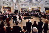 A military honor guard carries the casket of former Senator John McCain into the Capitol Rotunda where he will lie in state at the U.S. Capitol, in Washington, DC on Friday, August 31, 2018. McCain, an Arizona Republican, presidential candidate and war hero died August 25th at the age of 81. He is the 31st person to lie in state at the Capitol in 166 years.    Photo by Kevin Dietsch/UPI