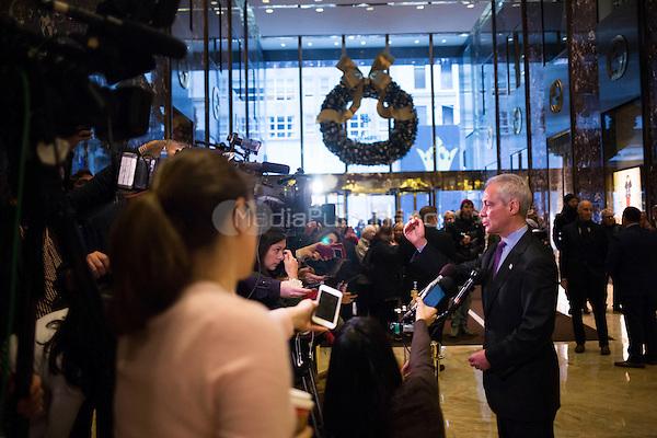 Mayor Rahm Emanuel (Democrat of Chicago) speaks to members of the media at Trump Tower in Manhattan, New York, New York, USA on Wednesday, December 7, 2016. <br /> Credit: John Taggart / Pool via CNP /MediaPunch