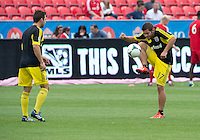 July 20, 2013: Columbus Crew defender Chad Barson #21and Columbus Crew forward Ben Speas #17 during the warm-up in a game between Toronto FC and the Columbus Crew at BMO Field in Toronto, Ontario Canada.<br /> Toronto FC won 2-1.