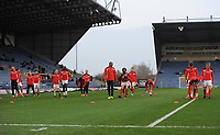 The Fleetwood Town squad during the pre-match warm-up  <br /> <br /> Photographer Kevin Barnes/CameraSport<br /> <br /> The EFL Sky Bet League One - Oxford United v Fleetwood Town - Tuesday 10th April 2018 - Kassam Stadium - Oxford<br /> <br /> World Copyright &copy; 2018 CameraSport. All rights reserved. 43 Linden Ave. Countesthorpe. Leicester. England. LE8 5PG - Tel: +44 (0) 116 277 4147 - admin@camerasport.com - www.camerasport.com