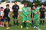 (L to R) <br /> Azusa Iwashimizu, <br /> Mizuho Sakaguchi, <br /> Saori Ariyoshi (Beleza), <br /> JULY 12, 2015 - Football / Soccer : <br /> 2015 Plenus Nadeshiko League Division 1 <br /> between NTV Beleza 1-0 AS Elfen Saitama <br /> at Hitachinaka Stadium, Ibaraki, Japan. <br /> (Photo by YUTAKA/AFLO SPORT)
