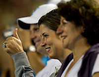 Mirka Federer and Rodger Federer'd mother watching the post match interview after Roger Federer (SUI) (1) played against Victor Hanescu (ROU) in the Second Round of the Mens Singles. Federer beat Hanescu 6-2 6--3 6-2..International Tennis - Australian Open Tennis - Thur 21 Jan 2010 - Melbourne Park - Melbourne - Australia ..© Frey - AMN Images, 1st Floor, Barry House, 20-22 Worple Road, London, SW19 4DH.Tel - +44 20 8947 0100.mfrey@advantagemedianet.com