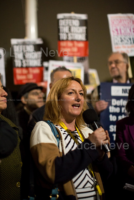 Lisa Cameron MP (Scottish National Party Member of Parliament for East Kilbride, Strathaven and Lesmahagow).<br /> <br /> London, 02/11/2015. Today, the Trade Union Co-ordinating Group (TUCG), supported by Right to Strike, Unite the Resistance and the National Shop Stewards Network (NSSN), held a demonstration in Parliament Square to protest against the Government's Trade Union Bill &quot;which will reform the current framework of trade union law&quot; (For a PDF version of the Bill please click here: http://www.publications.parliament.uk/pa/bills/cbill/2015-2016/0058/16058.pdf). The Trade Union Co-ordinating Group includes: Bakers Food and Allied Workers Union (BFAWU), Fire Brigades Union (FBU), Probation and Family Courts (NAPO), National Union of Journalists (NUJ), National Union of Teachers (NUT), Public and Commercial Services Union (PCS), Prison Officers Association (POA), National Union of Rail, Maritime and Transport Workers (RMT), United Road Transport Union (URTU).<br />  <br /> For more information please click here: http://on.fb.me/1HnpfzI &amp; http://bit.ly/1iyLmwH