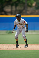 GCL Pirates second baseman Cristopher Perez (10) leads off second base during a game against the GCL Blue Jays on July 20, 2017 at Bobby Mattick Training Center at Englebert Complex in Dunedin, Florida.  GCL Pirates defeated the GCL Blue Jays 11-6 in eleven innings.  (Mike Janes/Four Seam Images)