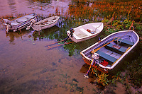 Row Boats sit in shallow water at sunset in Eagle Harbor, Ephraim, Door County, Wisconsin.