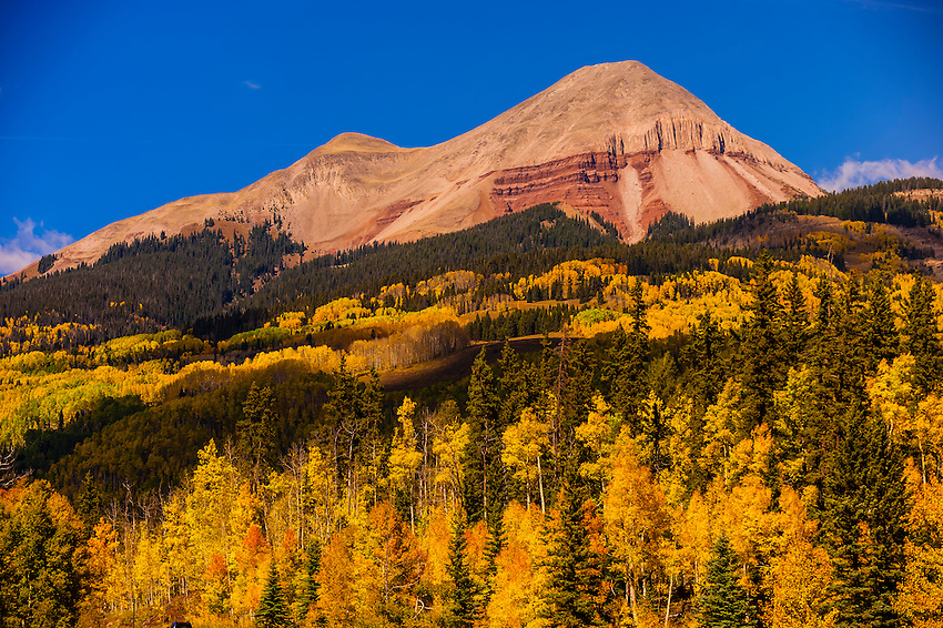 Fall color, Engineer Mountain,  San Juan Mountains, north of Durango, Colorado USA.