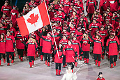 9th February 2018, Pyeongchang, South Korea; 2018 Winter Olympic Games; PyeongChang Olympic Stadium; Figure Skater Tessa Virtue leading the national team during the Opening ceremony carrying flag of Canada