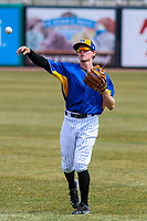 Wisconsin Timber Rattlers infielder Trever Morrison (13) warms up prior to a Midwest League game against the Quad Cities River Bandits on April 9, 2017 at Fox Cities Stadium in Appleton, Wisconsin.  Quad Cities defeated Wisconsin 17-11. (Brad Krause/Four Seam Images)