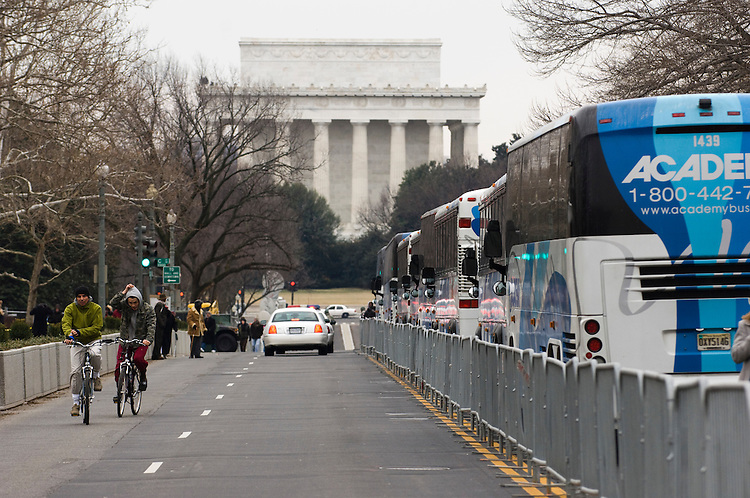 "WASHINGTON, DC - Jan. 18: A view down 23rd Street toward the Lincoln Memorial, site of the ""We Are One"" event opening the 56th inauguration of President-elect Barack Obama and Vice President-elect Joseph R. Biden Jr. Performers Bruce Springsteen, Beyonce, Sheryl Crow, Herbie Hancock, Tom Hanks, Josh Groban, Stevie Wonder and others appeared at the concert and celebration on the steps of the Lincoln Memorial. (Photo by Scott J. Ferrell/Congressional Quarterly)"