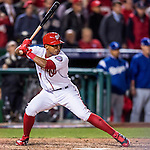14 October 2016: Washington Nationals infielder and Baseball America top prospect Wilmer Difo makes a pinch hitting appearance, the last at-bat of the NLDS Game 5 against the Los Angeles Dodgers at Nationals Park in Washington, DC. The Dodgers edged out the Nationals 4-3, to take Game 5, and the Series, 3 games to 2, moving on to the National League Championship against the Chicago Cubs. Mandatory Credit: Ed Wolfstein Photo *** RAW (NEF) Image File Available ***