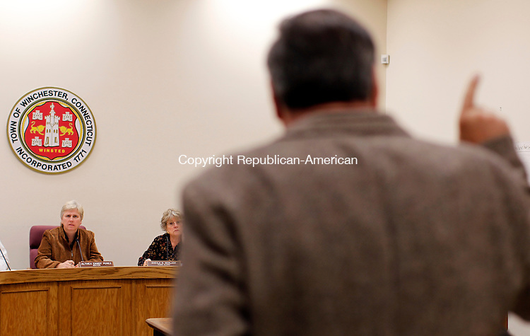 Winsted, CT- 15, November 2010-111510CM09  Winsted resident, Harry Marchell addresses the Board of Selectmen during a meeting at the Winchester Town Hall Monday night. Marchell expressed interest in purchasing the former Lambert Kay pet grooming supply factory currently owned by the town.  Christopher Massa Republican-American