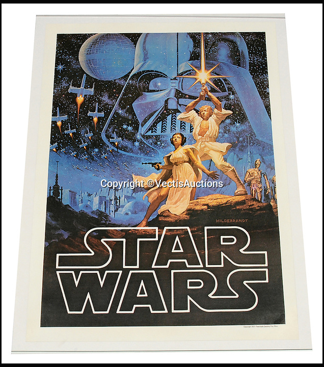 BNPS.co.uk (01202 558833)<br /> Pic: Vectis/BNPS<br /> <br /> Star Wars (1977) Film Poster. UK 18X25&quot;. Linen Backed sold for &pound;600.<br /> <br /> A tiny plastic rocket from a Star Wars action figure has sold for almost &pound;2,000 as part of a huge &pound;160,000 sale of rare toys relating to the film franchise.<br /> <br /> The red missile measures just 28mm long and was attached to the back of a prototype figure of bounty hunter Boba Fett.<br /> <br /> A complete prototype Boba Fett can sell for &pound;13,000 but thanks to a letter of authentication and grading by the Action Figure Authority (AFA), the small rocket made &pound;1,920 by itself at auction.<br /> <br /> It was one of almost 700 Star Wars lots that sold for &pound;160,000, with many toys that originally sold for &pound;1.50 achieving four-figure sums.<br /> <br /> With the release of Star Wars:The Force Awakens imminent, interest in memorabilia from the franchise has never been higher.