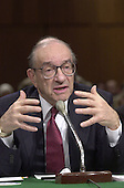 Federal Reserve Board Chairman Alan Greenspan gives testimony during a meeting of the U.S. Senate Budget Committee in Washington, DC on 25 January, 2001 where he endorsed phased tax decreases to help maintain the strength of the U.S. economy.<br /> Credit: Ron Sachs / CNP