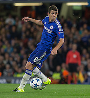 Oscar of Chelsea looks for options during the UEFA Champions League match between Chelsea and Maccabi Tel Aviv at Stamford Bridge, London, England on 16 September 2015. Photo by Andy Rowland.