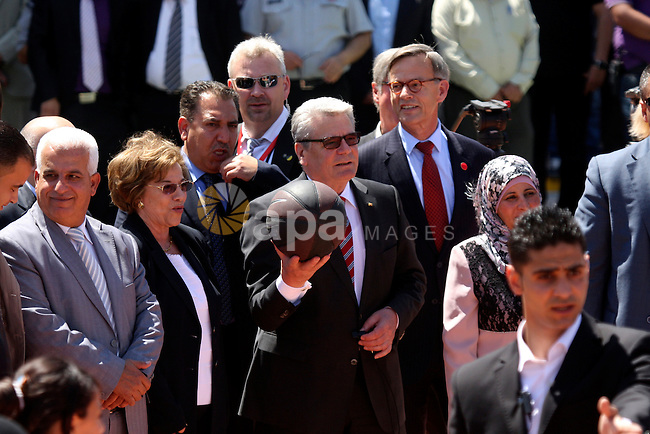 German President Joachim Gauck attend the inauguration of a German-funded girls' school in the West Bank village of Burin, south of Nablus, on May 31, 2012 . Photo by Wagdi Eshtayah