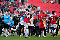Devonte Redmond and the Salford City players celebrate at the final whistle during AFC Fylde vs Salford City, Vanarama National League Football Promotion Final at Wembley Stadium on 11th May 2019