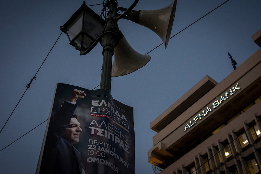 Athens, Greece, January 22, 2015. Campaign poster for the Syriza leader Alexis Tsipras.