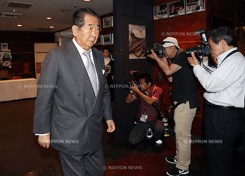 May 19, 2016, Tokyo, Japan - Japanese hawkish politicians Shintaro Ishihara (L), former Tokyo Governor arrives at a press conference at the Foreign Correspondent Club of Japan in Tokyo on Thursday, May 19, 2016. Ishihara and Shizuka Kamei, a lawmaker of Lower House are expecting to visit United States to have dialogue with Donald Trmp, Republican candidate for US presidential election.  (Photo by Yoshio Tsunoda/AFLO) LWX -ytd-