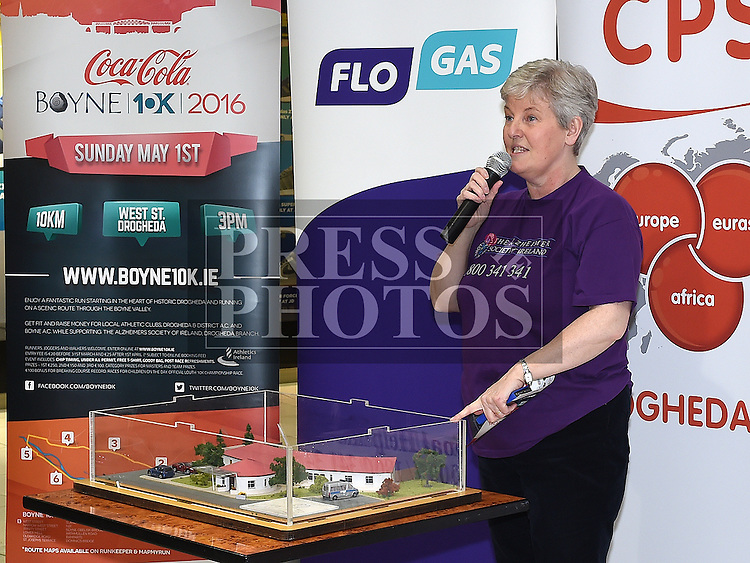 Ann Shortt from the Alzheimer Society speaking at the launch of the 2016 Boyne 10K in the laurence Town Centre. Photo:Colin Bell/pressphotos.ie