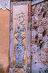 wall carving, mosaic, rose in vase, White Emperor City, China, Asia, 4/23/03