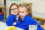 Simona Mustafa,and  Tori Muntzerare enjoying their first day in Junior Infants at CBS primary  on Tuesday